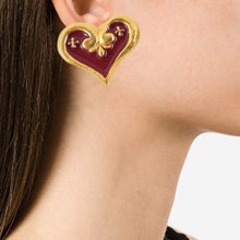 "Load image into Gallery viewer, Vintage Signed ""Christian Lacroix"" Abstract Heart Earrings - (Clip-On Earrings)"