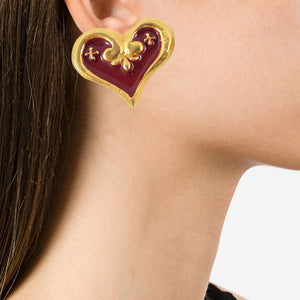 "Vintage Signed ""Christian Lacroix"" Abstract Heart Earrings - (Clip-On Earrings)"