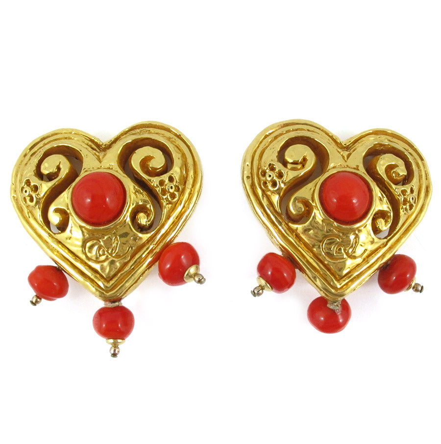 Signed Vintage Christian Lacroix Heart Earrings (clips)