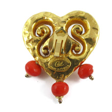 Load image into Gallery viewer, Signed Vintage Christian Lacroix Heart Earrings (clips)