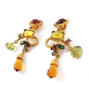 Rare Vintage Christian Lacroix Paris Hand Poured Glass Couture Earrings c. 1990