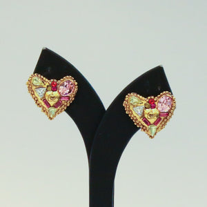 Christian Lacroix Signed Vintage Small Gold Crystal Heart Stud Earrings c.1990 (Clip-Ons)