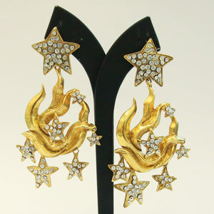 Christian Lacroix Signed Vintage Large Statement Star Crystal Gold-tone Earrings c. 1980