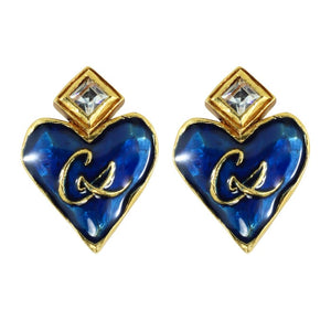 Christian Lacroix Signed Vintage Blue Enamel - Gold Plate Heart Motif Earrings c. 1980 (Clip-ons)