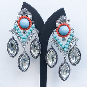 Lawrence VRBA Signed Large Statement Crystal Earrings - Silver, Clear, Turquoise, Coral