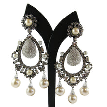 Load image into Gallery viewer, Lawrence VRBA Signed Large Statement Crystal Earrings - Pearl & Clear Oval Large Drop