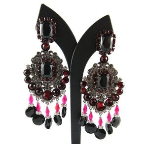 Lawrence VRBA Signed Large Statement Crystal Earrings - Blood Red, Black, Clear & Grey