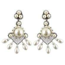 Load image into Gallery viewer, Lawrence VRBA Signed Large Statement Crystal Earrings - Large Pearl Lace Like Drop