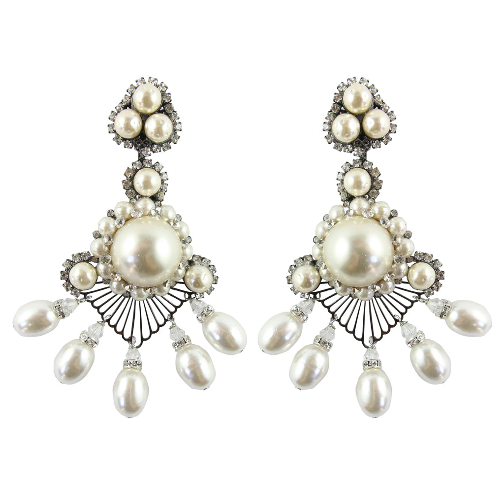 Lawrence VRBA Signed Large Statement Crystal Earrings - Large Pearl Lace Like Drop