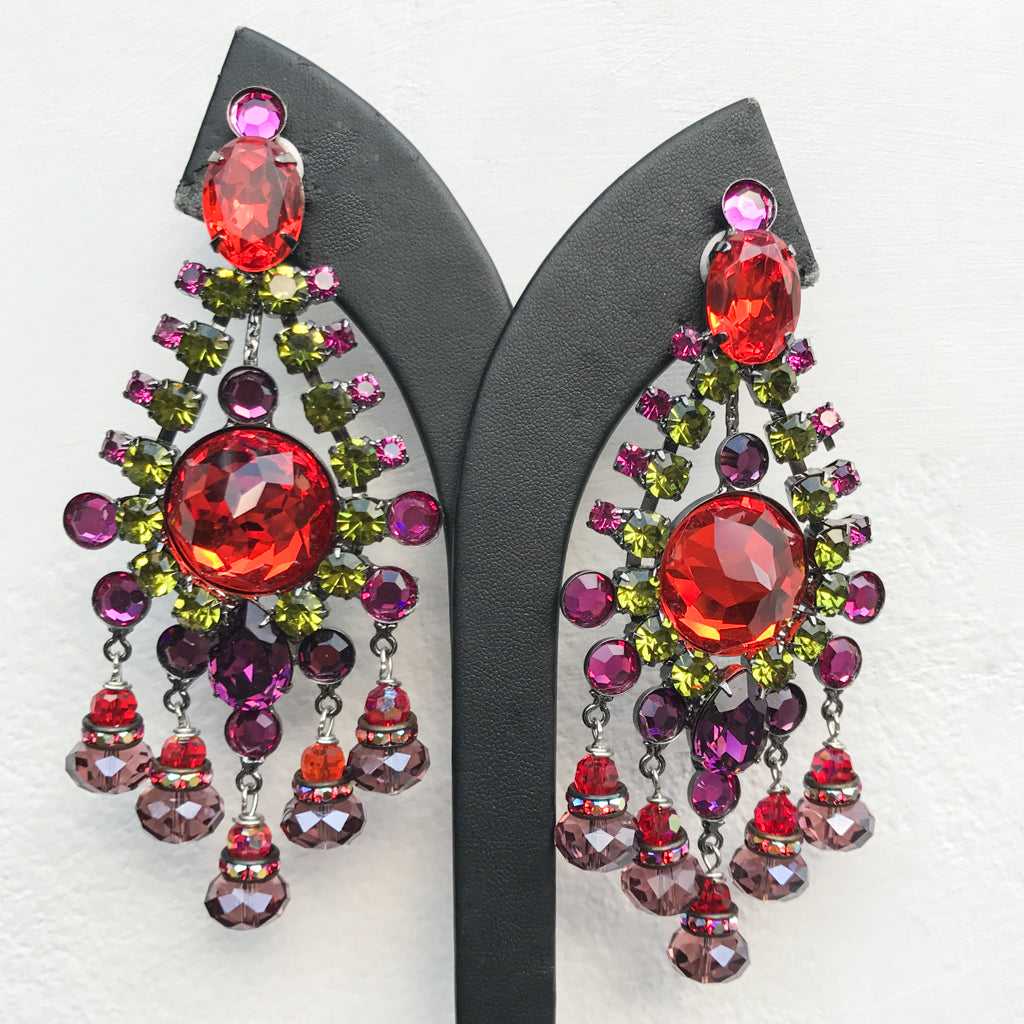 Lawrence VRBA Signed Large Statement Earrings - Blood Orange, Green, Purple, Fuschia Drop