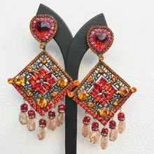 Load image into Gallery viewer, Lawrence VRBA Signed Large Statement Earrings - Red Heart, Orange, Blood Orange Large Diamond Drop