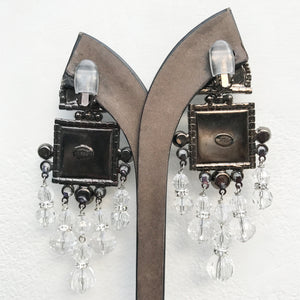 Lawrence VRBA Signed Large Statement Crystal Earrings - Modern Curve Clear & Pewter Square Drop
