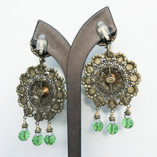 Load image into Gallery viewer, Lawrence VRBA Signed Large Statement Earrings - Large Green Disc Drop