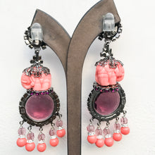 Load image into Gallery viewer, Lawrence VRBA Signed Large Statement Earrings - Circular Deep Purple & Coral Elephant Drop