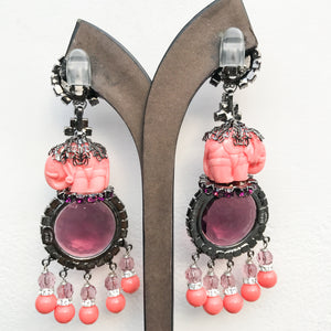 Lawrence VRBA Signed Large Statement Earrings - Circular Deep Purple & Coral Elephant Drop