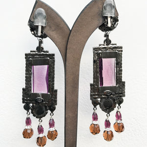 Lawrence VRBA Signed Large Statement Earrings - Long Drop Deep Purple