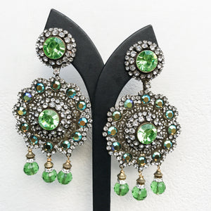 Lawrence VRBA Signed Large Statement Earrings - Large Green Disc Drop
