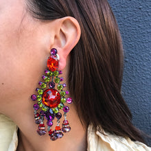 Load image into Gallery viewer, Lawrence VRBA Signed Large Statement Earrings - Blood Orange, Green, Purple, Fuschia Drop