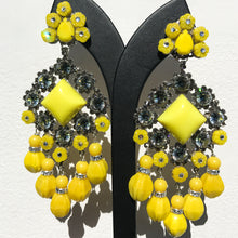 Load image into Gallery viewer, Lawrence VRBA Signed Large Statement Crystal Earrings - Lemon Yellow