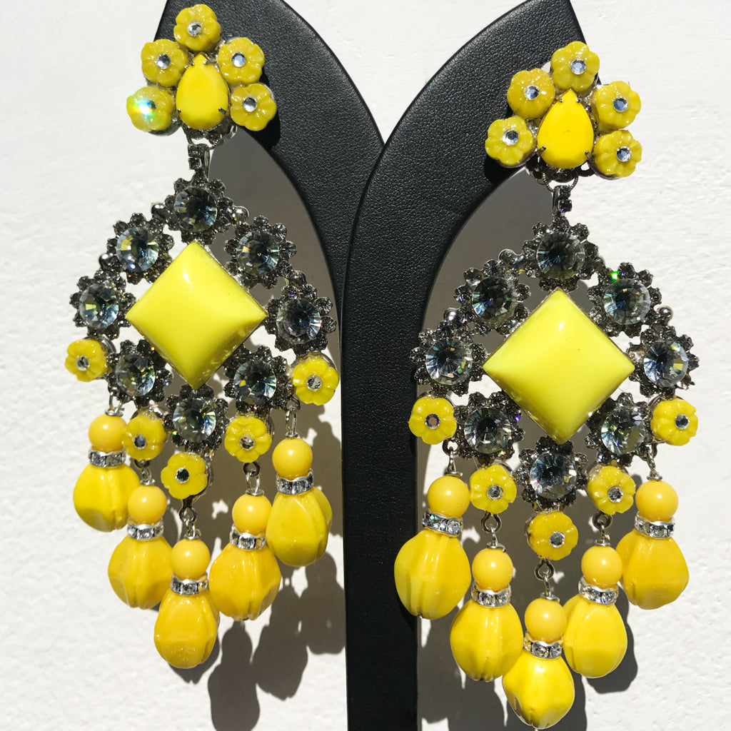 Lawrence VRBA Signed Large Statement Crystal Earrings - Lemon Yellow