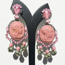 Load image into Gallery viewer, Lawrence VRBA Signed Large Statement Crystal Earrings - Pale Pink with Face Detail