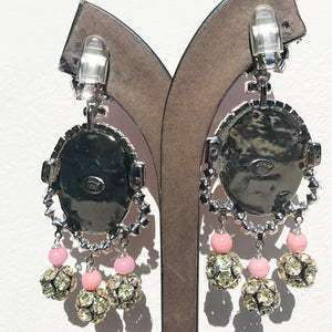 Lawrence VRBA Signed Large Statement Crystal Earrings - Pale Pink with Face Detail