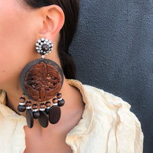 Load image into Gallery viewer, Lawrence VRBA Signed Large Statement Crystal Earrings -Tribal Brown