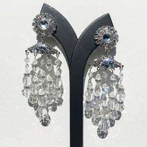 Lawrence VRBA Signed Large Statement Crystal Earrings - Silver, Clear Chandelier