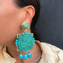Load image into Gallery viewer, Lawrence VRBA Signed Large Statement Crystal Earrings - Turquoise Ram