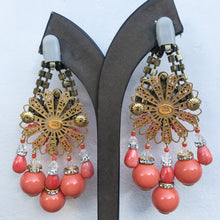 Load image into Gallery viewer, Lawrence VRBA Signed Large Statement Crystal Earrings - Coral, Clear