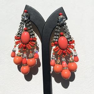 Lawrence VRBA Signed Large Statement Crystal Earrings - Coral, Clear