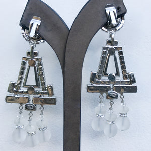 Lawrence VRBA Signed Large Statement Crystal Earrings - Clear, Opaque Chandelier