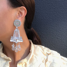 Load image into Gallery viewer, Lawrence VRBA Signed Large Statement Crystal Earrings - Clear, Opaque Chandelier