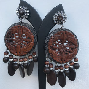 Lawrence VRBA Signed Large Statement Crystal Earrings -Tribal Brown