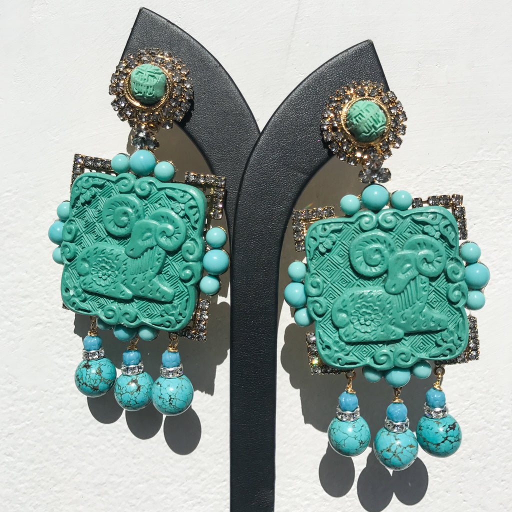 Lawrence VRBA Signed Large Statement Crystal Earrings - Turquoise Ram