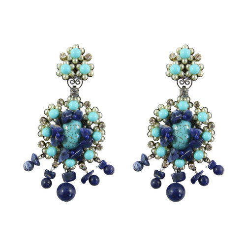 Lawrence VRBA Signed Large Statement Crystal Earrings - Blue Tonal Cluster