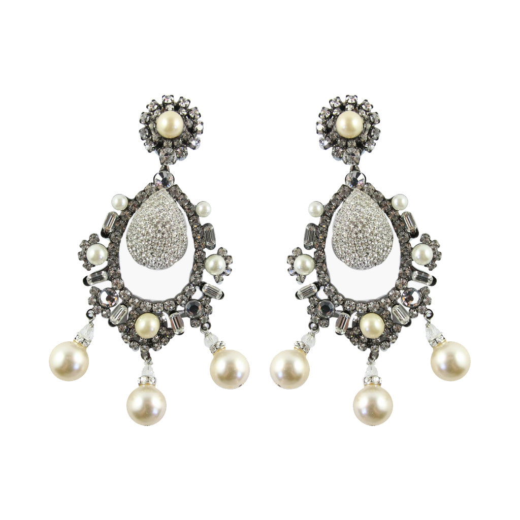 Lawrence VRBA Signed Large Statement Crystal Earrings - Pearl & Clear Oval Large Drop