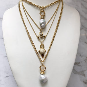 HQM Layering Necklaces - Various Vintage Charms or Baroque Pearls - Each Sold Separately