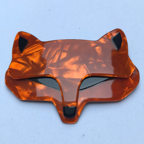 Lea Stein Goupil Fox Head Brooch - Red Brown, Black