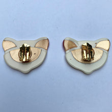 Load image into Gallery viewer, Lea Stein Quarrelsome Cat Earrings - Creme, Red