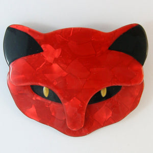 Lea Stein Attila Cat Face Brooch Pin - Red
