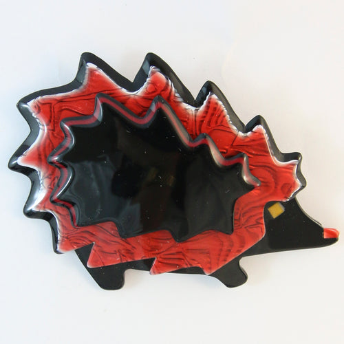 Signed Lea Stein Hedgehog Brooch Pin - Black, White & Red