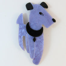 Load image into Gallery viewer, Lea Stein Ric The Dog Brooch Pin - Purple Snakeskin