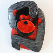 Load image into Gallery viewer, Lea Stein Saga The Monkey Brooch - Unique B&W Mesh Design With Red Body