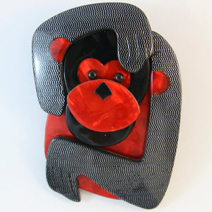 Lea Stein Saga The Monkey Brooch - Unique B&W Mesh Design With Red Body