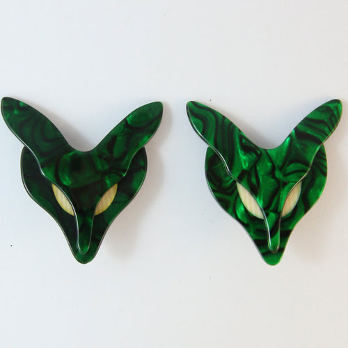 Lea Stein Fox Clip-On Earrings - Dark Green With Creme Eyes