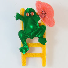 Load image into Gallery viewer, Lea Stein Signed Frog on Ladder Brooch Pin - Yellow, Red & Green