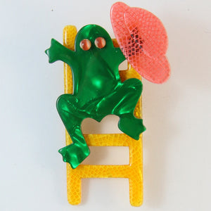 Lea Stein Signed Frog on Ladder Brooch Pin - Yellow, Red & Green