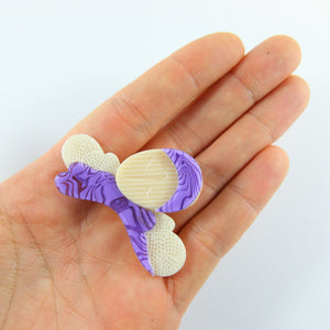Lea Stein Columbine Flapper Girl Brooch Pin - Purple, Creme