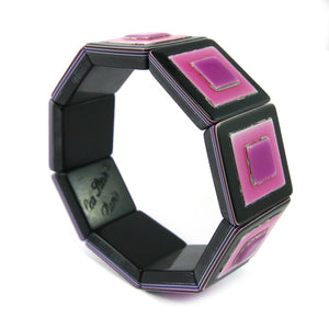 Lea Stein Signed Vintage Deco Stretch Bangle - Multicoloured Pink, Purple Black c. 1960